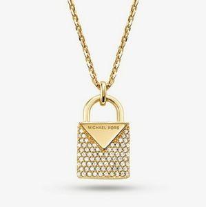 🌟🆕 LIST🌟 MICHAEL KORS 14K GOLD PLATED Pave Lock